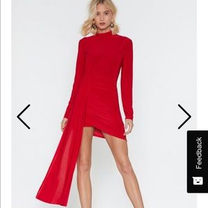Red asymmetric turtleneck mini dress